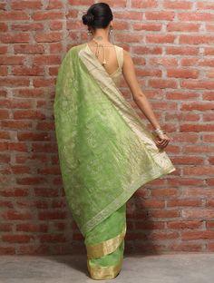 Poppy Green Chanderi Silk Saree