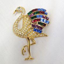 SOLD! Vintage Designer Giorgio Flamingo Rhinestone Brooch