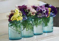 Pansies in blue Mason jars - cheery! Pot Mason, Blue Mason Jars, Bottles And Jars, Glass Jars, Flowers In Jars, Fresh Flowers, Beautiful Flowers, Spring Flowers, Flower Jars