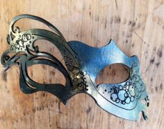 Vytina Sea Goddess Blue Gold Leather Asymmetrical Etched Carnival Filigree Mask