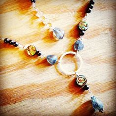 Labradorite, Abalone, and Hematite Necklace by myOMinspirations on Etsy