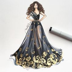 "Dreaming in black   gold. See her shine on snapchat, ""hnillustration"" . Sket..."