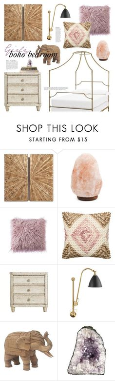 """Girly Boho Bedroom"" by emmy ❤ liked on Polyvore featuring interior, interiors, interior design, home, home decor, interior decorating, Loloi Rugs, Stanley Furniture, Bestlite and Anja"