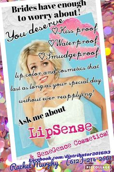 Brides have enough to worry about without worrying about their makeup too! Get Lipsense for your wedding for a perfect look all day! Facebook.com/distributor201693  Senegence.com/LongLastingMakeup #lipsense #senegence #weddingmakeup #longlastingmakeup #lipsticklaststhrougheatinganddrinking #wholesalecustomer #bridalmakeup