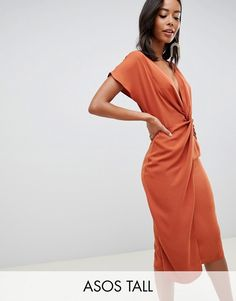 Browse online for the newest ASOS DESIGN Tall twist midi dress with kimono sleeve styles. Shop easier with ASOS' multiple payments and return options (Ts&Cs apply). Tall Women Fashion, Clothing For Tall Women, Cheap Summer Dresses, Dresses For Work, Nice Dresses, Midi Skater Dress, Tall Dresses, Robes Midi, Asos