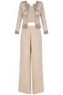 Light Beige Jacket with Crop Top and Palazzo Pants #platinoir #shopnow #ppus #happyshopping