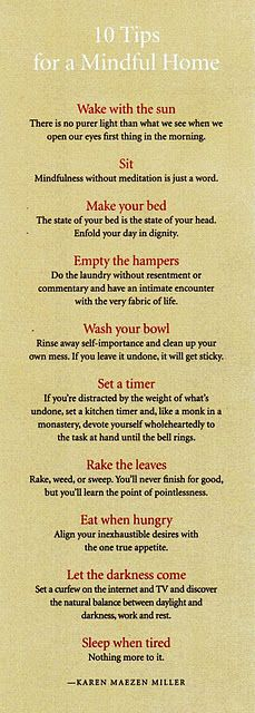 10 tips for a mindful home