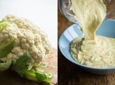"Cauliflower Fettuccine ""Alfredo"" (Vegan) Sauce - 4 heaping cups cauliflower minced garlic almond milk nutritional yeast lemon juice onion powder garlic powder"