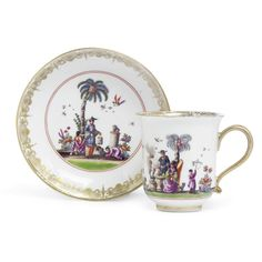 A MEISSEN COFFEE CUP AND SAUCER CIRCA 1735-40 each painted with vignettes of Chinese figures within gilt panelled borders, the underside of the saucer painted with three indianische Blumen sprays, crossed swords marks in underglaze-blue and gilder's numeral 32. Sotheby's