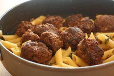 Kjötbollur með kúrbít og pasta
