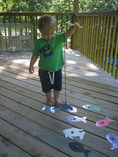"""Homemade fishing game---""""One Fish, Two Fish, Red Fish, Blue Fish"""" Toddler Teacher, Toddler Fun, Toddler Crafts, Toddler Games, Kids Crafts, Red Fish Blue Fish, One Fish Two Fish, Fish Activities, Activities For Kids"""