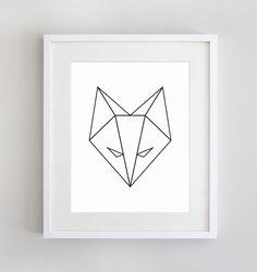 Geometric Fox Black and White Geometric Animal by SunberryGraphics