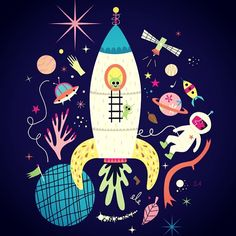 Just found this drawing i did a few months ago. Could be a tee for kids or a poster maybe :) #space #ovni #fusée #rocket #alien #moon #sparkle #etoile #star #universe #satellite #cosmonaut #spaceman #vaisseau #spacial #spacecraft #scale #planets #comet #illustration #teeshirt #kids #poster #room #babyroom #OVNI