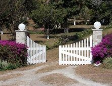 Bi Parting Gate, White Gate  Gates and Fencing  Landscaping Network  Calimesa, CA