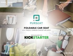 The Purseat is a foldable child car seat that makes traveling with kids so much more convenient. You can order one on Kickstarter now. Car Rental, Travel With Kids, Purses And Handbags, Car Seats, Traveling, Children, Viajes, Young Children, Boys