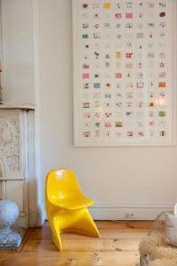 Leuk idee, om alle kunstwerkjes van je kinderen te verkleinen en er 1 groot kunstwerk van te maken!