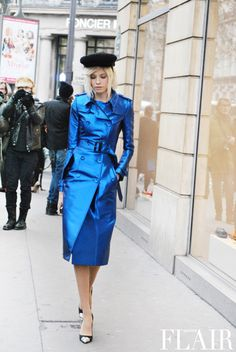 electric blue trench...strolling in paris