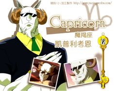 """Capricorn, """"The Goat"""" (カプリコーン Kapurikōn) is a Celestial Spirit that is one of the 12 Golden Zodiac Keys. His key was formerly owned by Layla Heartfilia. His key was later passed to Zoldeo, who took possession of his body, becoming a member of Grimoire Heart's Seven Kin of Purgatory known as Caprico. He was later freed from Zoldeo's control, and left Grimoire Heart to become one of Lucy Heartfilia's spirits."""