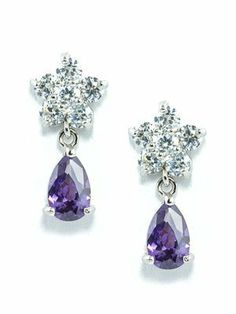 18K White Gold Plated White and Purple CZ Flower and Teardrop Earrings le Jane. $19.00. Small in Size with Elegant Look. Pear Shaped Purple Cubic Zirconia Drop. Post Drop Stud Earrings with a Length of 0.75''. 18K White Gold Plated. Clustered White Cubic Zirconia Flower
