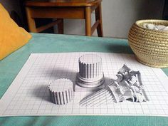Wonderful 3D Pencil Drawing          3D pencil drawing created by reddit user fnord-prefect. Totally realistic. It almost lures you to try and look under the table to see the rest of the Greek columns bursting out from the paper grid.