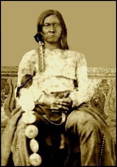 The original photo was a faded photograph, and is the only known image of Castile, one of the chiefs of the Tonkawas during the 1860s and 1870s. Chief Castile did effective work as a scout and guide for the Texas Rangers and U.S. Army during their pursuit of hostile Comanches and Kiowas. Photo: 1865-71. Source: Lawrence T. Jones III.