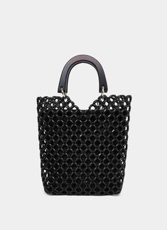 Der Neu 2019 Black openwork knit bag - View All - Bags - Uterqüe France Beaded Purses, Beaded Bags, Crochet Jewelry Patterns, Quilted Handbags, City Bag, Knitted Bags, Backpack Bags, Jewelry Making, France