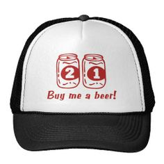 21st Birthday Mesh Hat that says 'Buy me a beer!'
