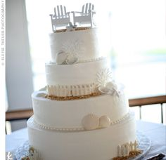 such a cute cake for a beach wedding this whole website has amazing cake ideas for a beach wedding!!!