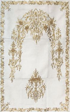 Silk, embroidered with gold metal thread; design in 'Turkish Rococo'-style. Gold Embroidery, Embroidery Patterns, Turkish Design, Rococo Style, Prayer Rug, Gold Work, Patterned Carpet, Islamic Calligraphy, Hobbies And Crafts