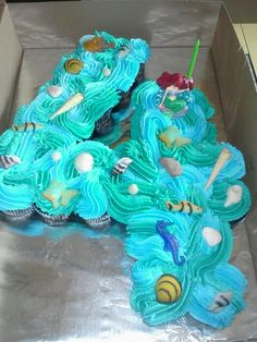 Little Mermaid Birthday Party-- Love this idea! Girl Cupcakes, Birthday Cupcakes, Sea Cupcakes, Party Cupcakes, Wedding Cupcakes, Little Mermaid Parties, The Little Mermaid, 6th Birthday Parties, Girl Birthday