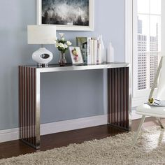 Modway Gridiron Wood Inlay Console Table