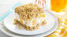 Frozen Creamsicle Crunch Cake - Yoplait® Light Orange Crème yogurt is whipped into a sweet and creamy filling, spread between two crunchy layers of granola, and made into a quick and delicious frozen cake! Ice Cream Desserts, Frozen Desserts, Frozen Treats, No Bake Desserts, Custard Desserts, Cake Recipes, Dessert Recipes, Yogurt Recipes, Dessert Bars