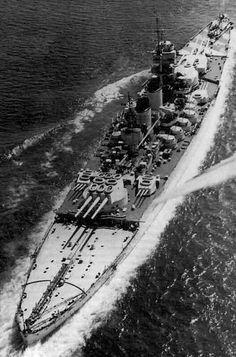 Italian Battleship, Littorio - one of Italy's most modern WW2 battleships, heavily damaged at Taranto by Fleet Air Arm attack in 1940.