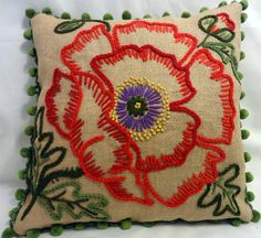 Decorator Burlap Embroidered Pillow with PomPom Fringe