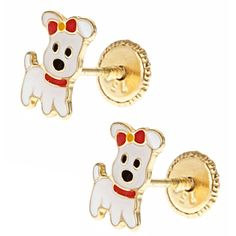18K Gold Puppy Dog Earrings for Children with Screwbacks from www.thejewelryvine.com