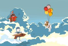 A boy, a box and two basset hounds - Sky by DRIEHOEK, Illustrated by Megan Bird Basset Hound, Illustration Art, Illustrations, Little Boys, Beautiful Pictures, Behance, Bird, Gallery, Creative