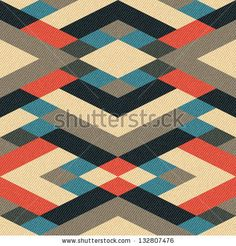Abstract geometric ornament printed on textured striped fabric background. Seamless pattern. - stock photo