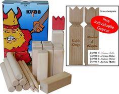 KUBB schwedisches Trendspiel Luxus Version Hartholz, Geschenk Idee mit Gravur. Dieses KUBB wird in Italien aus besonders hartem Buchen - Holz gefertigt .