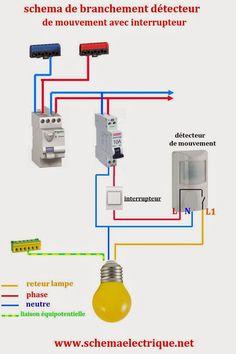 -schémaelectrique simple détecteurde mouvement   -schémaelectriquedétecteuravec interrupteur    - branchement etcâblaged...