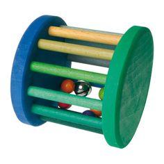 [Grimm's Spiel & Holz Design グリムス社]ベービーローラー 青&緑 ドイツ・グリムス社の転がすとカラカラ♪楽しい音がする赤ちゃんの木のおもちゃです。
