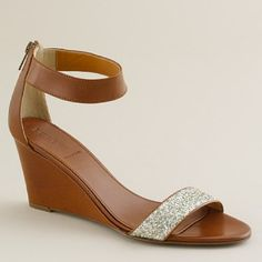 brown wedges with glitter