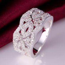 2016 Nuevo de Calidad Superior de Plata Plateado y Estampada 925 de ancho gruesa flor del hueco con anillos de piedra para las mujeres de la boda fine joyería(China (Mainland))