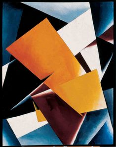 A work by Lyubov Popova with small abstractions by Ivan Kliun.