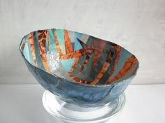 Papermache Bowl   Handmade collage Bowl   Dish in Papermaché  and paper collage   Original collage bowl    Blue bowl decorative dish
