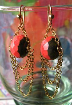 Czech Glass Coral Red Picasso Bead earrings with 14KGF