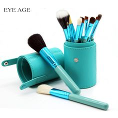 EYE AGE 12pcs Makeup Brushes Goat Hair Professional Brush Tools Cosmetics Kits Make Up Kwasten Brush Set With Holder