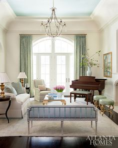 Blue ceiling paint color is Rhine River Benjamin Moore.   Mallory Mathison Inc. Atlanta Homes & Lifestyles.