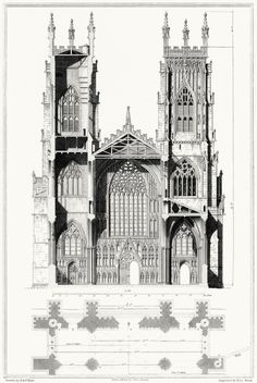 York cathedral church. Elevation and section of the west end. Edward Blore, from Cathedral antiquities vol. 1, by John Britton, London, 1814.