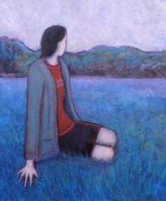 "Saatchi Art Artist Massimiliano Ligabue; Painting, ""Girl staring at woods"" #art"
