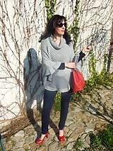 Grey poncho made from old sweaters